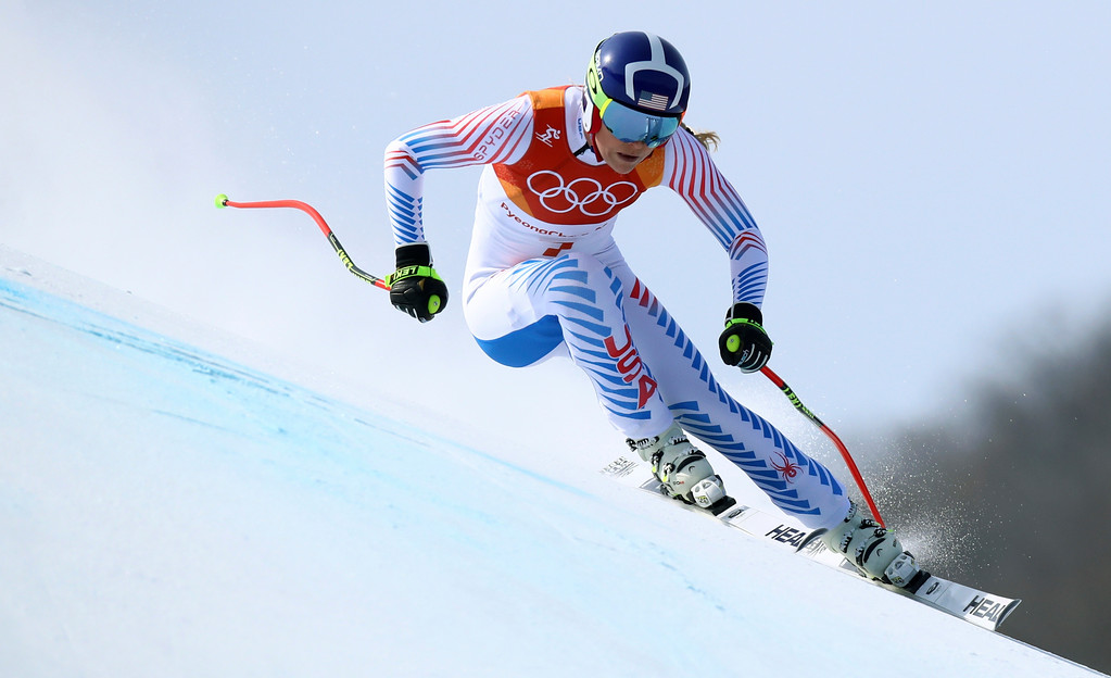 . United States\' Lindsey Vonn competes in the women\'s downhill at the 2018 Winter Olympics in Jeongseon, South Korea, Wednesday, Feb. 21, 2018. (AP Photo/Alessandro Trovati)