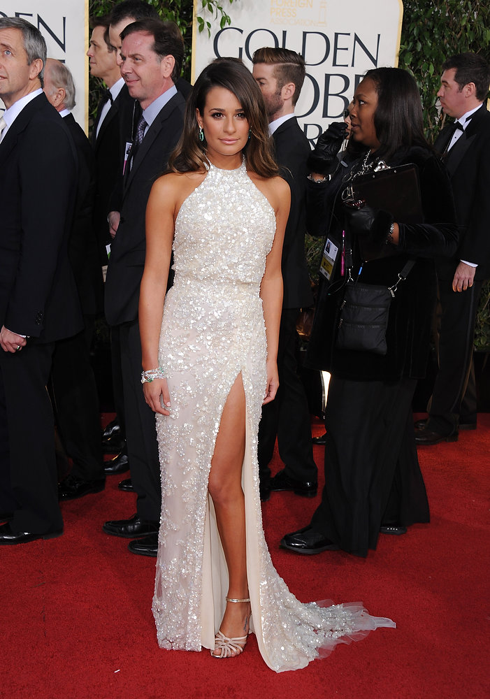 Description of . Actress Lea Michele arrives at the 70th Annual Golden Globe Awards at the Beverly Hilton Hotel on Sunday Jan. 13, 2013, in Beverly Hills, Calif. (Photo by Jordan Strauss/Invision/AP)