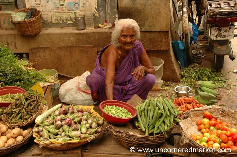 Madurai, India: Woman and Veg