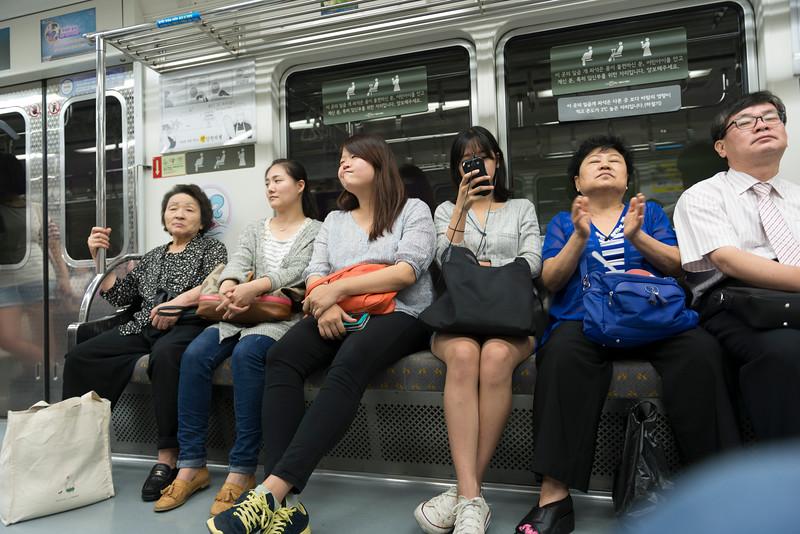 Commuters at subway train, Seoul, South Korea