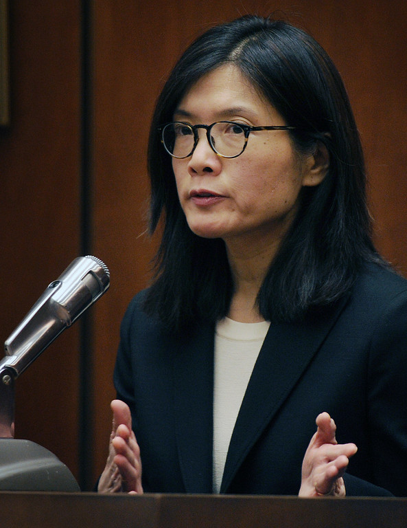 . Mihoko Manabe, long-time girlfriend of Christian Karl Gerhartsreiter,  testifies at Clara Shortridge Foltz Criminal Justice Center in Los Angeles Wednesday, March 27, 2013. He has pleaded not guilty to the killing of John Sohus, 27, who disappeared with his wife, Linda, in 1985 while Gerhartsreiter was a guest cottage tenant at the home of Sohus\' mother, where the couple lived. (Photo by Walt Mancini/SGVN)