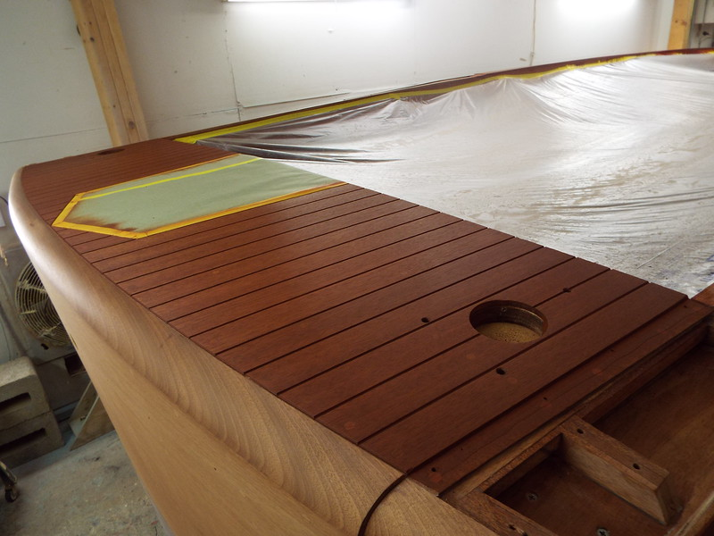 Rear deck with stain applied.