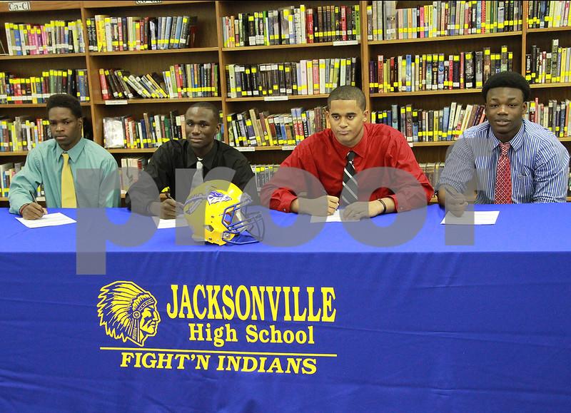 Jacksonville High School Fightin Indians L to R Darrell MinifeeTJC DD FranklinTJC Cory HolmanTVCC Bryson HaywoodTVCC