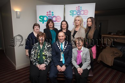 Newry Mourne and Down Chairperson Mickey Ruane is pictured with Bridie rooney, Anna O'Hagan, Sinead Murphy, Mary McDonnell, Phyllis Hanratty, Allison Slater and Aine McKeown at the announcment of £10000 fund from the Big Lottery Awards for All programme. R1604005