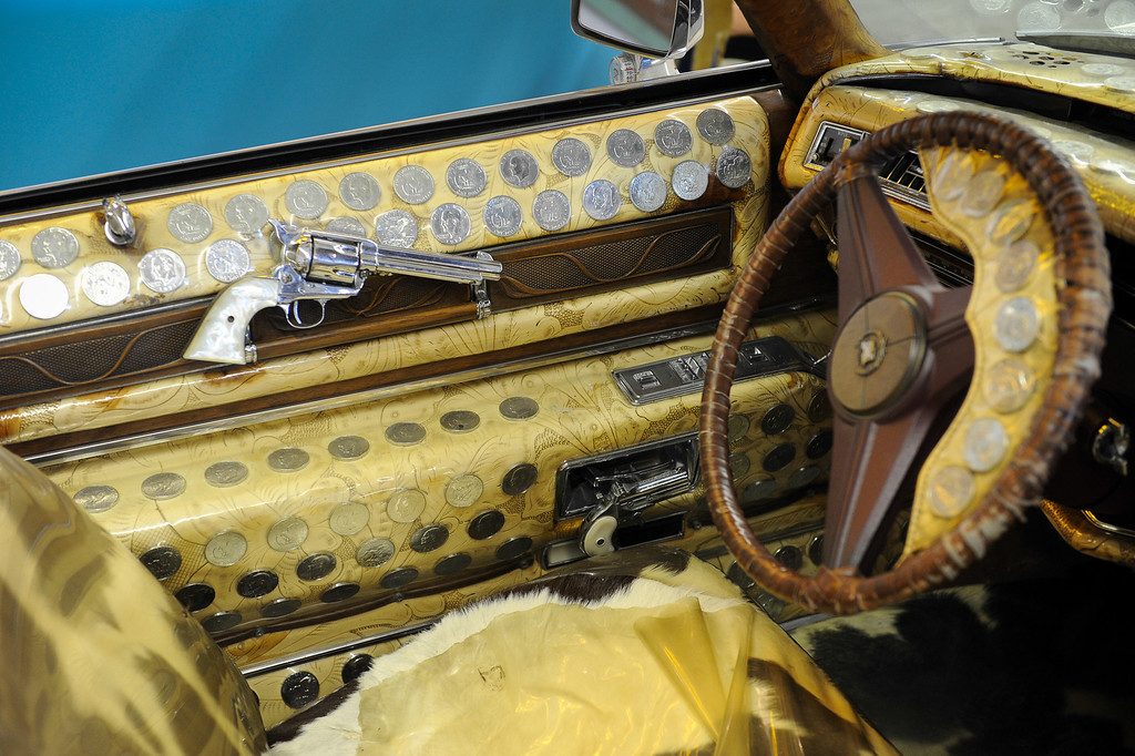 . Interior of a 1975 Nudie Cohn Cadillac at the Valley Relics Museum in Chatsworth. (Photo by Michael Owen Baker/L.A. Daily News)