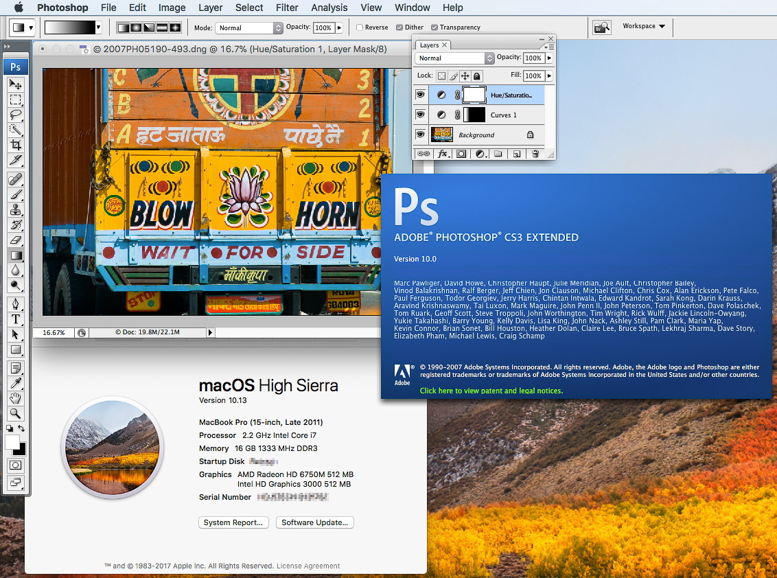 Photoshop CS3 running in macOS 10.13 High Sierra.