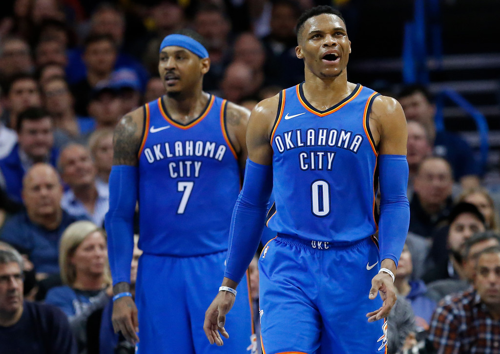 . Oklahoma City Thunder guard Russell Westbrook (0) reacts following a foul call during the second half of the team\'s NBA basketball game against the Cleveland Cavaliers in Oklahoma City, Tuesday, Feb. 13, 2018. (AP Photo/Sue Ogrocki)