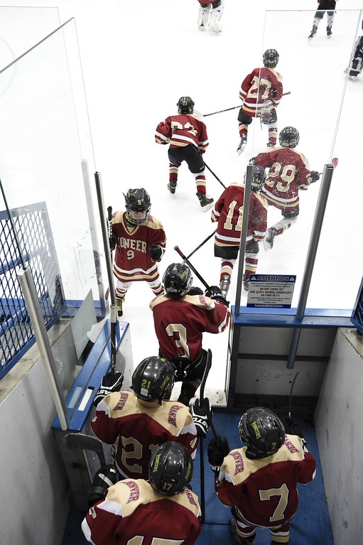 . The DU Pioneers hit the ice for their game against the Eagles. The Eagles defeated the Pioneers 4-3 to capture the CCYHL Squirt A Governors Championship. February 21, 2016 at the Ice Center at the Promenade. (Photo By John Leyba/The Denver Post)