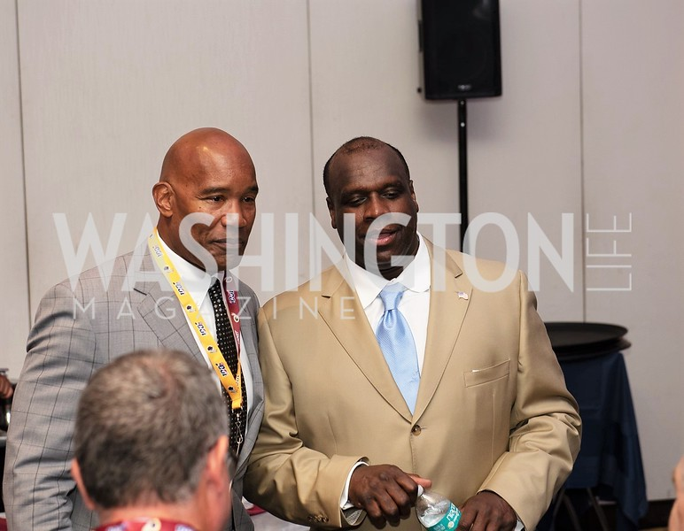 Charles Mann, Dexter Manley. Photo by Yasmin Holman. Washington Redskins Lunch 2019. Washington Hilton. 08.28.19
