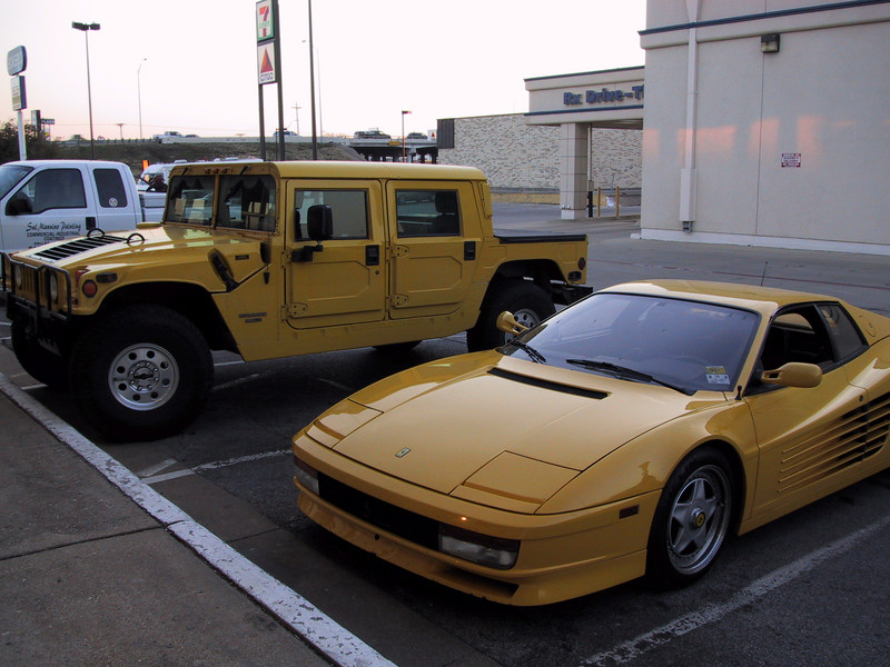 My Hummer and Testarossa out in front of Exotic Car World in Dallas, where I sold the Ferrari in 2002.