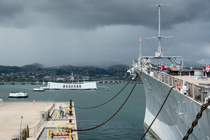 The USS Arizona Memorial and the USS Missouri -- symbolic beginning and end of WWII for the United States