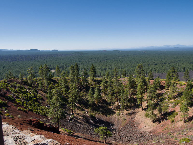 top of Lava Butte, looking down into the cinder cone