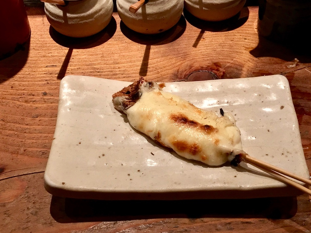 A mozzarella cheese skewer.
