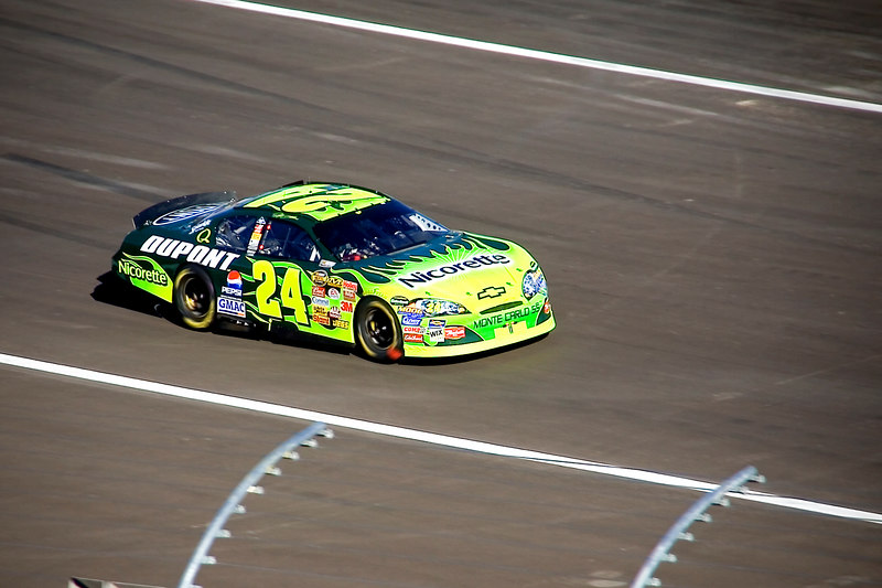 This is Jeff Gordon pulling out of the pits.  He came 2nd in the race.  Cly remembers him from college days when he used to watch NASCAR 10 years ago.