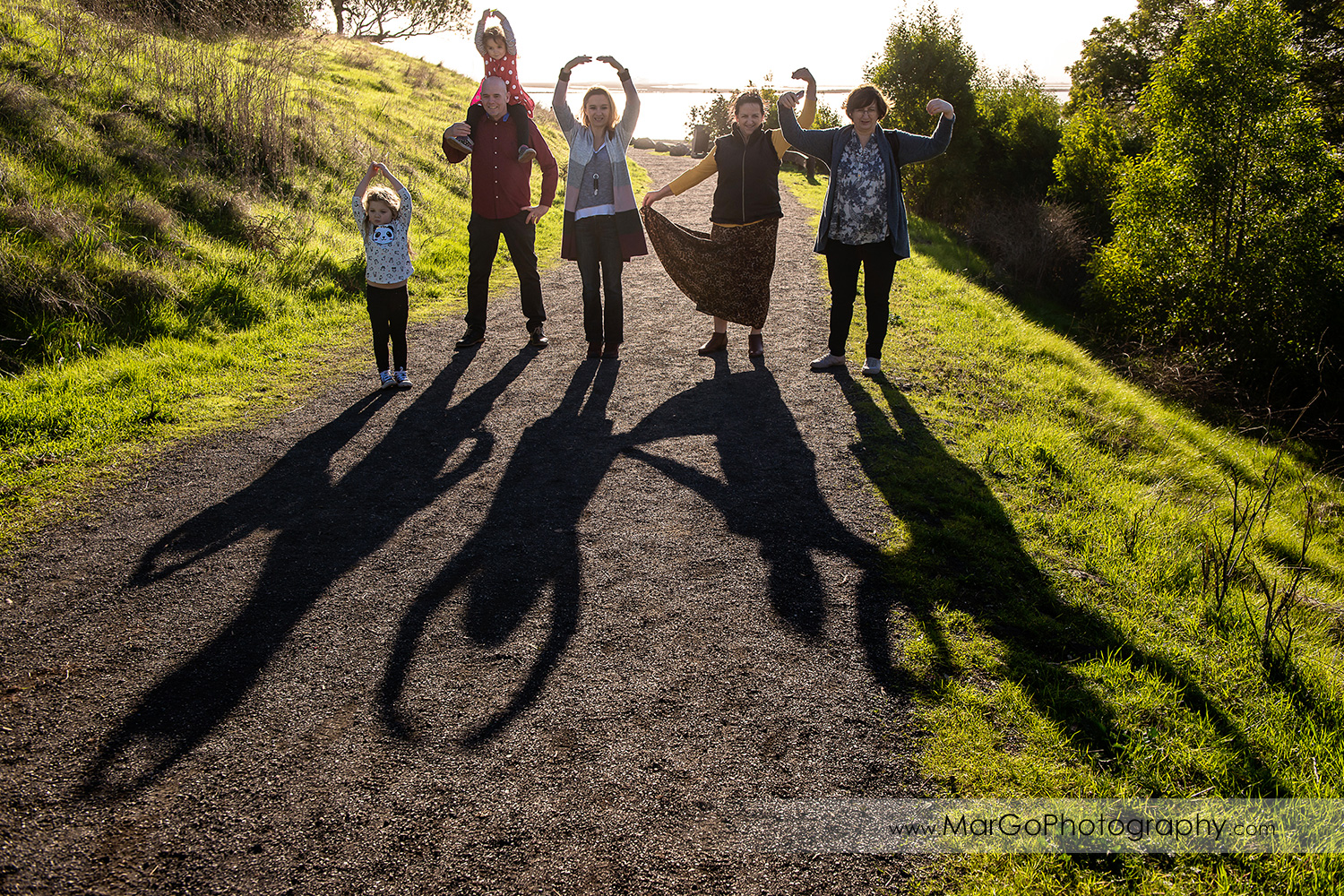 3 generation family during shadows competition at Don Edwards Refuge in Fremont