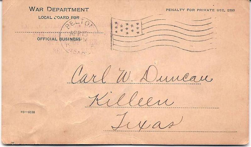 1918 - 4-15 Carl Duncan's War Dept. Health Notice 01.jpg