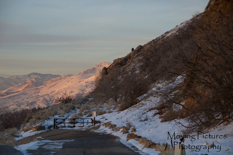 Setting sun colors on the Wasatch Mountains