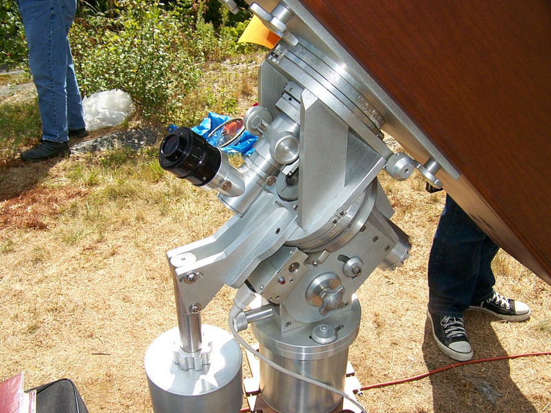 Eyepiece end of this 6.3 inch folded refractor. It is a Springfield design. Note the dropped counter weight which aides when adjusting the latitude of the telescope from California's LA area to that of Springfield VT.