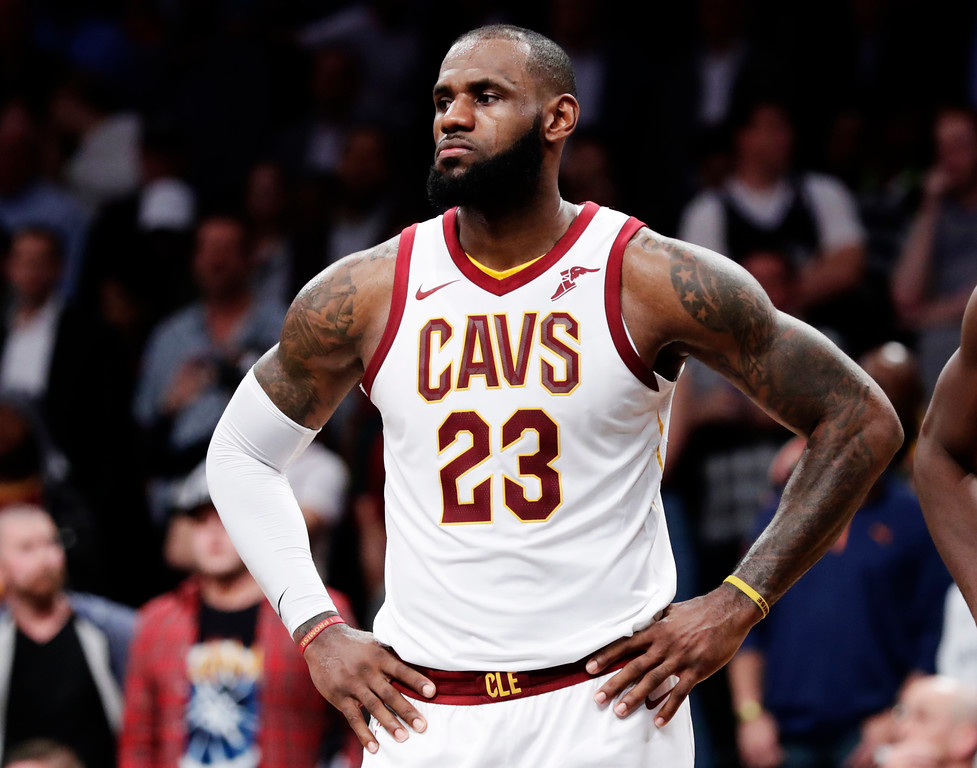 . Cleveland Cavaliers forward LeBron James (23) reacts during the second half of an NBA basketball game against the Brooklyn Nets Wednesday, Oct. 25, 2017, in New York. The Nets won 112-107. (AP Photo/Frank Franklin II)