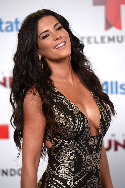 . MIAMI, FL - AUGUST 15:  Gaby Espino arrives for Telemundo\'s Premios Tu Mundo Awards at American Airlines Arena on August 15, 2013 in Miami, Florida.  (Photo by Gustavo Caballero/Getty Images)
