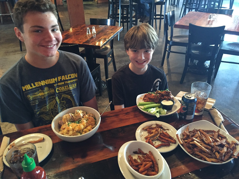 Here is lunch at Everybody's.  Brady had the hottest wings ever and enjoyed the sweet potato fries.