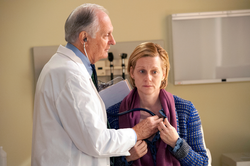 ". In this publicity image released by Showtime, Laura Linney, right, and Alan Alda appear in a scene from ""The Big C.\""  Linney was nominated for an Emmy Award for best actress in a miniseries or movie on, Thursday July 18, 2013. The Academy of Television Arts & Sciences\' Emmy ceremony will be hosted by Neil Patrick Harris. It will air Sept. 22 on CBS. (AP Photo/Showtime, David M. Russell)"