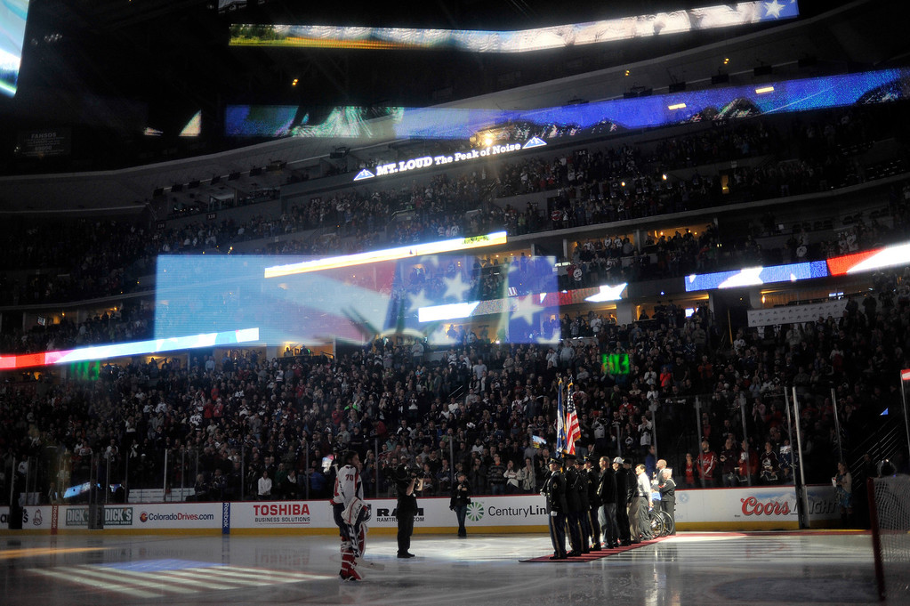 . A ceremony honoring US military Veterans kicked off the game. The Colorado Avalanche hosted the Washington Capitals at the Pepsi Center in Denver, Colorado on Sunday, November 10, 2013. (Photo By Patrick Traylor/The Denver Post)