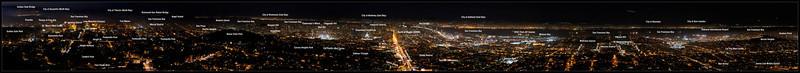 Annotated San Francisco Nighttime Panorama   San Francisco, California   06-SEP-2010