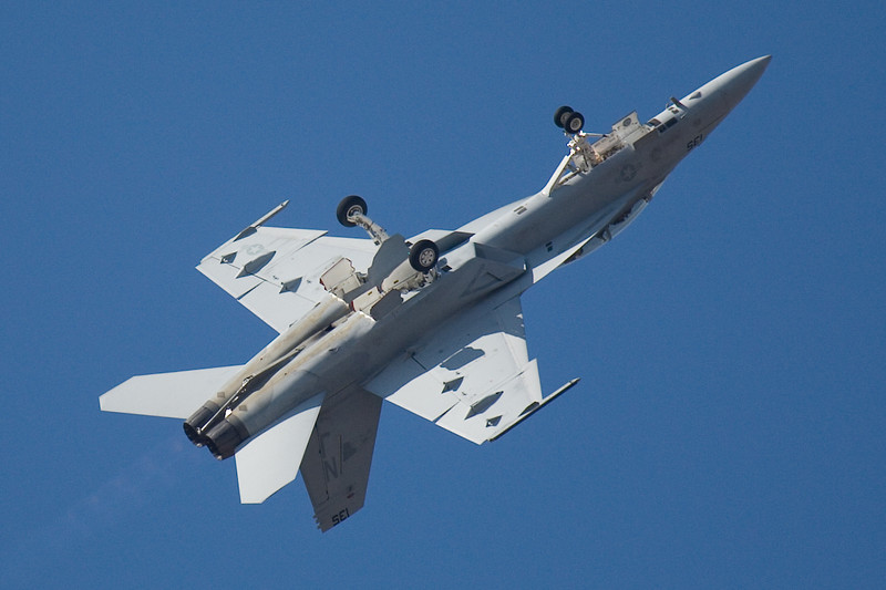 F-18 roll over into power climb