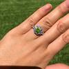 2.48ctw Yellow-Green Round Brilliant Diamond Cluster Ring 25