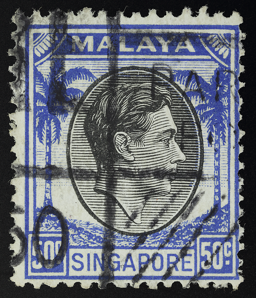 Malaya small heads issue Singapore 50c King George VI