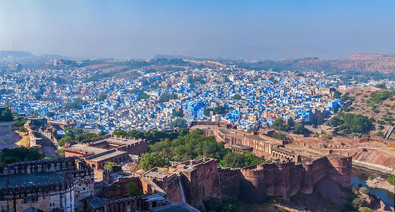Aerial panorama of Jodhpur - the blue city. Rajasthan, India