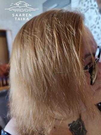 Hiustyyppini on nopeasti rasvoittuva ja hento. Kasvihiusvärjäys Saaren Taika