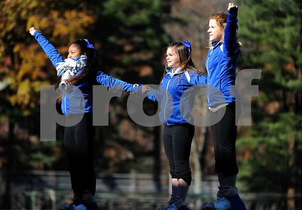 11/23/2017 Mike Orazzi | Staff Bristol Eastern High School cheerleaders during the annual Battle For The Bell at Muzzy Field Thursday.