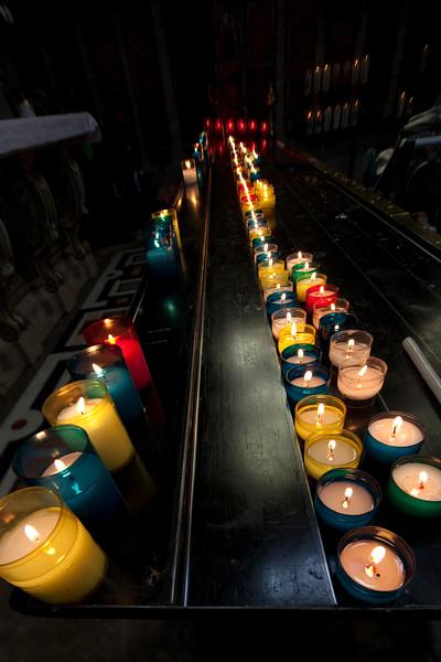 Votive candles, Sainte Anne d'Auray Basilica, departement of Morbihan, Brittany, France