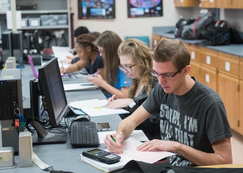 Student Jacob Burton works on his prelab for Advanced Physics.