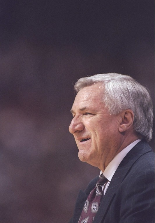 . FILE - FEBRUARY 8:  According to reports February 8, 2015, former North Carolina Tar Heels basketball coach Dean Smith has died at the age of 83. 13 Mar 1997:  Coach  Dean Smith of the North Carolina Tar Heels smiles during a playoff game against the Fairfield Stags at the Lawrence Joel Veteran Memorial Coliseum in Winston-Salem, North Carolina. Mandatory Credit: Doug Pensinger  /Allsport