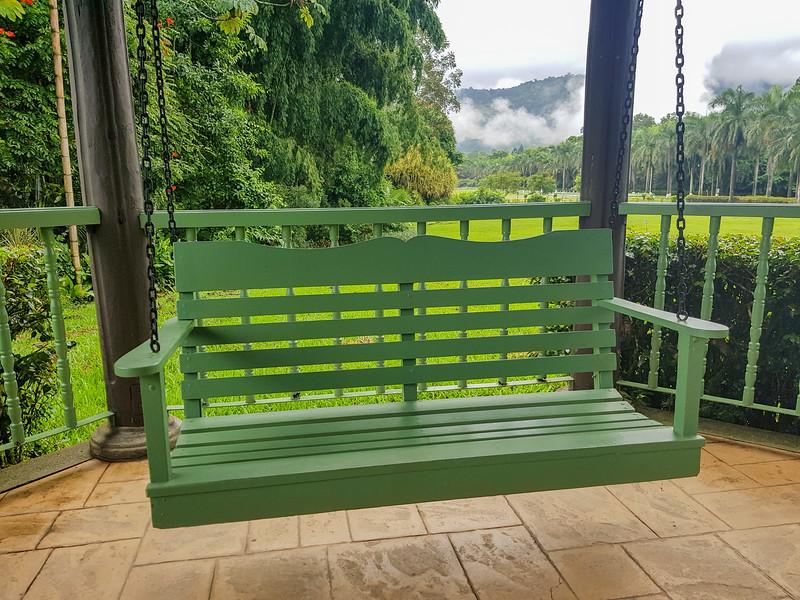 wooden bench in the gazebo