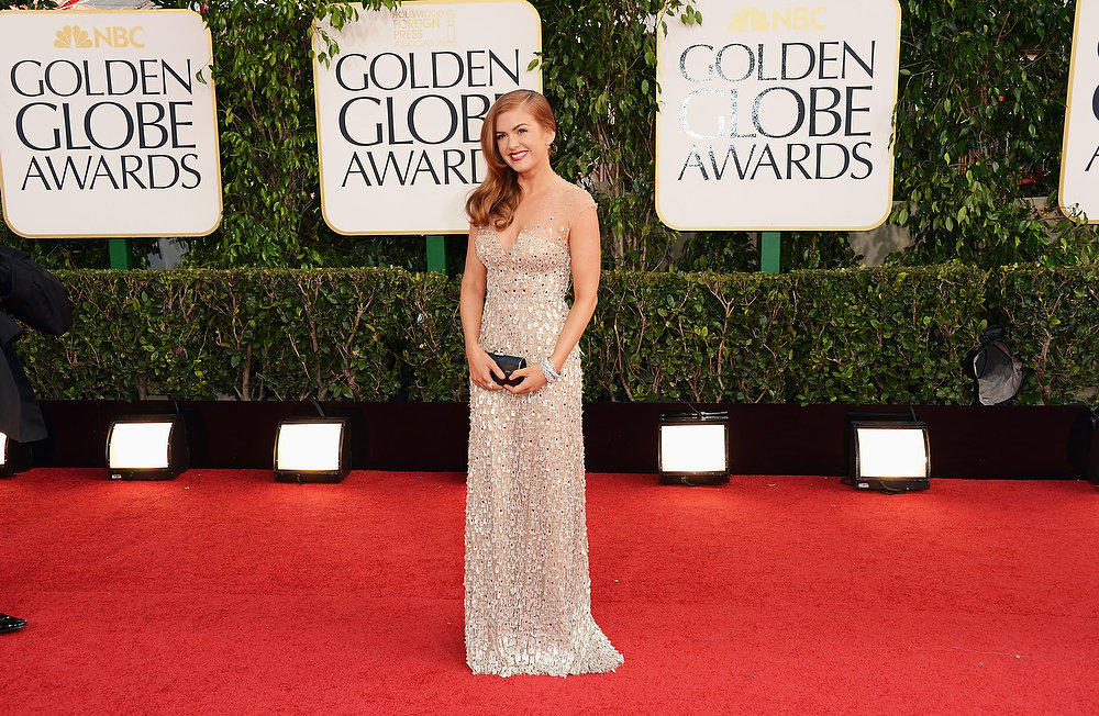Description of . Actress Isla Fisher arrives at the 70th Annual Golden Globe Awards held at The Beverly Hilton Hotel on January 13, 2013 in Beverly Hills, California.  (Photo by Jason Merritt/Getty Images)