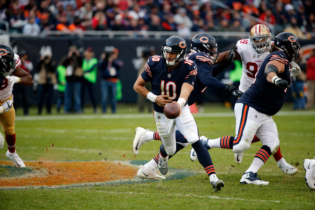 . Chicago Bears quarterback Mitchell Trubisky (10) during the second half of an NFL football game San Francisco 49ers, Sunday, Dec. 3, 2017, in Chicago. (AP Photo/Charles Rex Arbogast)