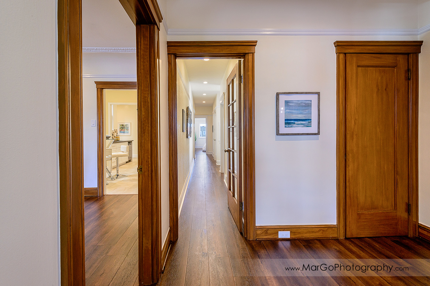 San Francisco house hall with wood doors and floor - real estate photography
