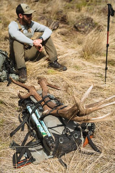 Casey Barton (_caseybarton_) and elk antlers in Oregon.
