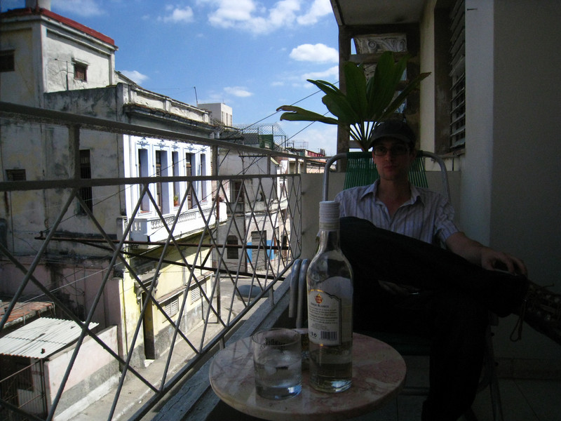 Monday - Havana - relaxing at our Casa Particular, Tati Lopez.  Welcomed with rum, of course!