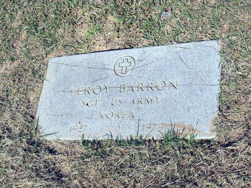 BARRON, LEROY - SERVICE STONE Elizabeth Cemetery, Roanoke, Texas