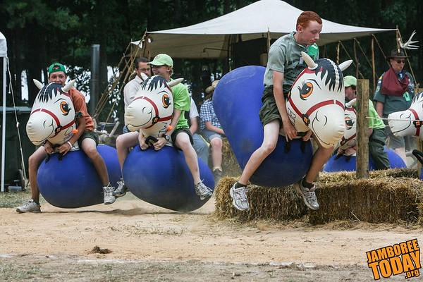 Scouts Race in Jamboree Venturing Town