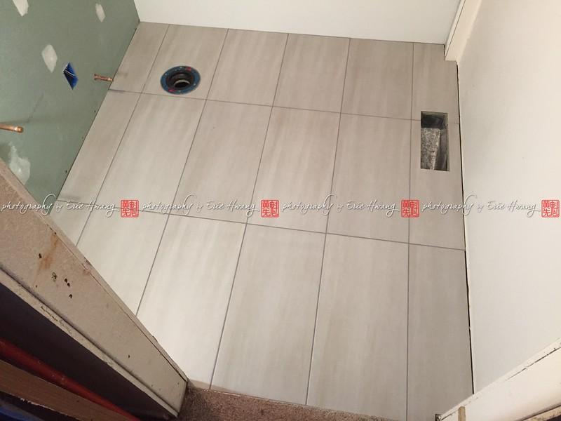 Floor tiles installed