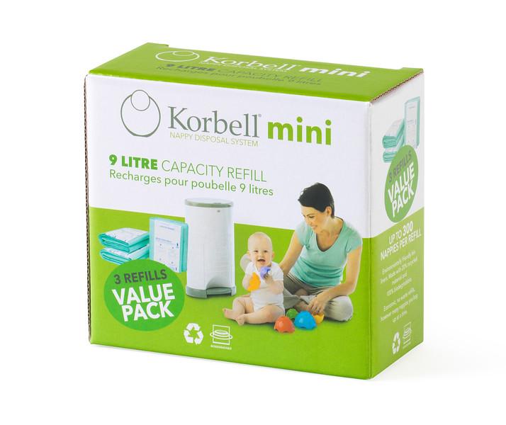 Korbell_Nappy_Bin_Packaging_Shot_Mini_9L_Three_Refills_Front_Angle.jpg