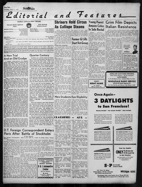 Daily Trojan, Vol. 37, No. 146, June 11, 1946