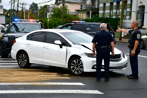 10/1/2019 Mike Orazzi | StaffrThe scene of a two car crash at the intersection South and Union Streets in Bristol on Tuesday afternoon. Two were transported from the scene with non life-threatening injuries and both vehicles were towed. rr