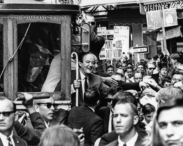 . San Francisco, CA July 30, 1968 - Vice President Hubert H. Humphrey rides the cable car in San Francisco\'s Chinatown. (Robert Stinnett / Oakland Tribune Staff Archives)